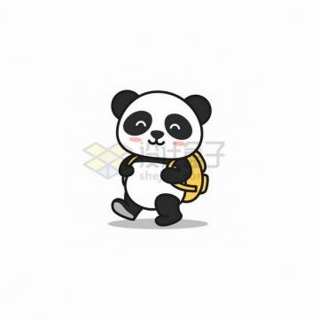 背着书包上学去的卡通熊猫png图片免抠矢量素材