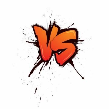 漫画风格橙色VS英文大写字母图片免抠AI矢量素材