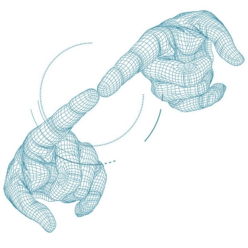 科幻风格线条组成的两个手指触碰在一起图片免抠素材