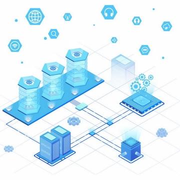 2.5D科幻风格蓝色人工智能云计算技术png图片免抠ai矢量素材