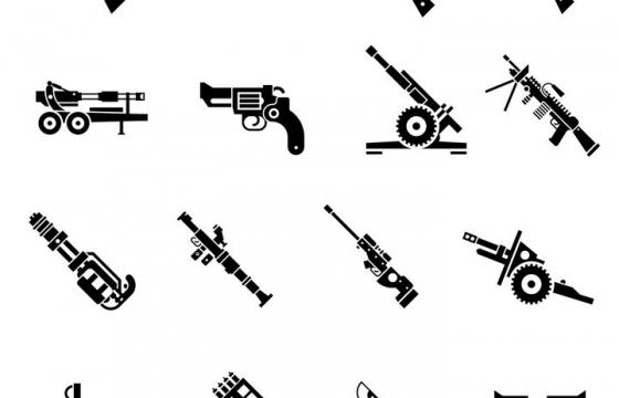 16款黑色自动步枪散弹枪加农炮榴弹炮加特林机枪等武器装备剪影图片免抠矢量素材