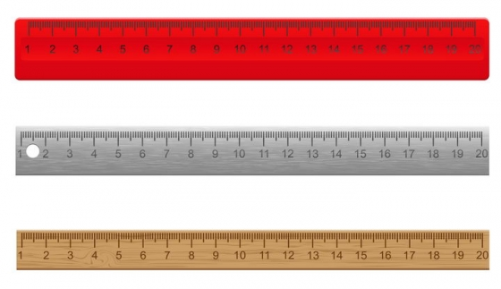 三款金属直尺木头直尺和塑料直尺学习用品测量工具免抠矢量图片素材