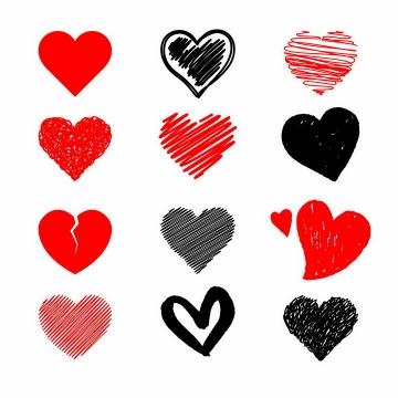 12款红心爱心黑色涂鸦心形符号图案png图片免抠eps矢量素材