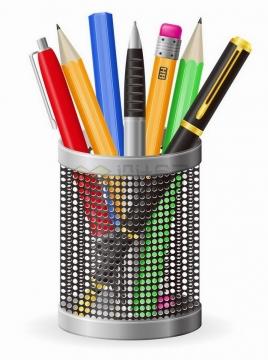 镂空笔筒中放着的各种钢笔圆珠笔铅笔png图片免抠矢量素材