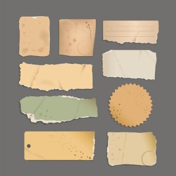 各种撕纸风格的复古纸张碎片文本框免抠矢量图素材