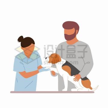 带着宠物狗看宠物医生手绘扁平插画png图片免抠矢量素材