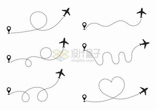 6款定位图标和飞机图案间有了虚线连接png图片免抠矢量素材