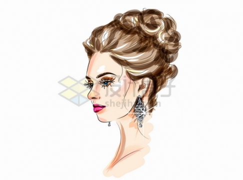 美丽的美女化妆美妆美发彩绘插画png图片素材