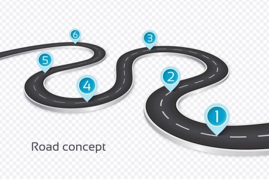 立体风格弯曲的S型公路道路蓝色定位标志PPT元素图片免抠矢量素材