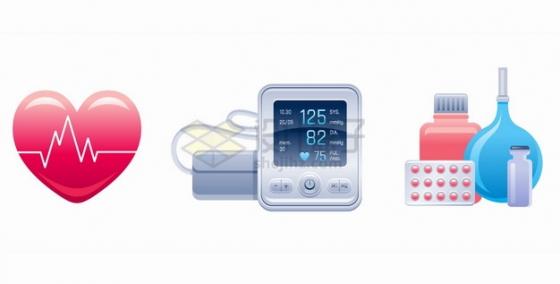 心跳图红心血压计药品等医疗用品png图片素材