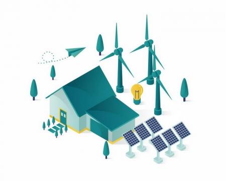2.5D风格绿色风力太阳能发电和环保房屋png图片免抠eps矢量素材