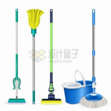 各种各样的拖把清洁卫生工具png图片免抠矢量素材