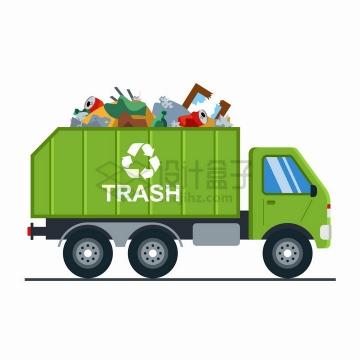 装满垃圾的绿色垃圾车png图片素材