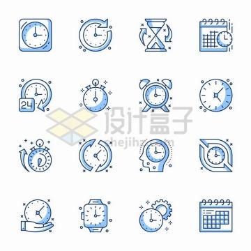 16款MBE风格时钟服务时间保证标志图标png图片免抠矢量素材