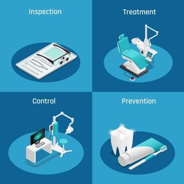 四款牙科医院常用医疗设备图片免抠素材