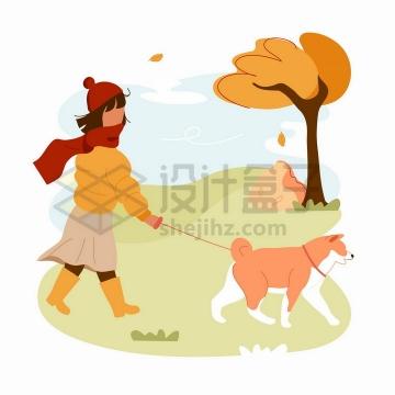 秋天遛狗的女孩手绘扁平插画png图片免抠矢量素材