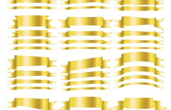 各种风格的金黄色金属光泽风格飘带彩带装饰免抠矢量图素材