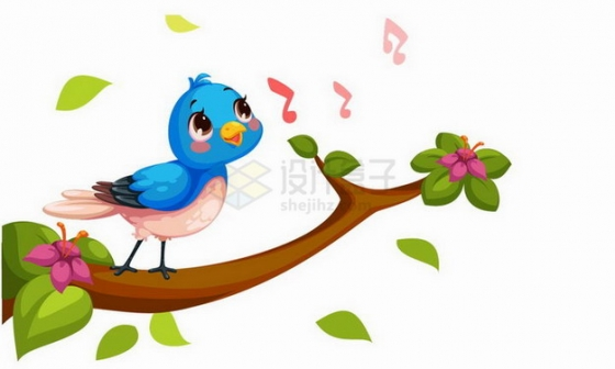 清晨在枝头唱歌的卡通小鸟png图片免抠矢量素材