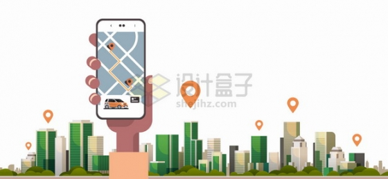城市天际线建筑高楼大厦定位图标和手机地图APP png图片素材