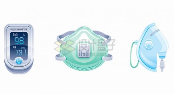 手指夹式血氧仪脉搏检测器N95口罩防护面具等医疗用品png图片素材