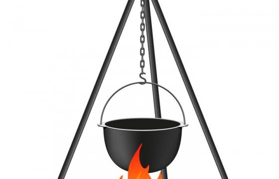 野营野炊支架烹饪烧汤的铁锅免抠矢量图片素材
