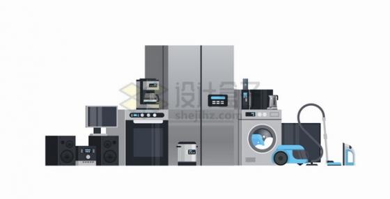 电冰箱洗衣机吸尘器微波炉咖啡机电视机等常用家用电器png图片素材