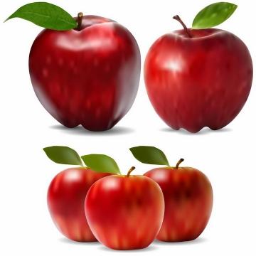 3款不同角度带绿叶的红苹果美味水果png图片免抠EPS矢量素材