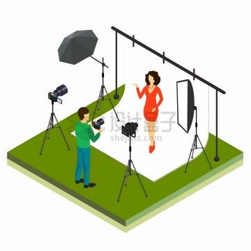 2.5D风格在白色幕布前拍照的淘宝女模特png图片免抠矢量素材