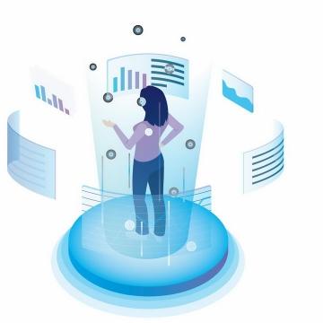 2.5D风格女孩站在未来风格的蓝色环绕显示屏面前png图片免抠ai矢量素材