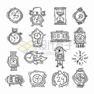 16款线条时钟服务时间保证标志线条图标png图片免抠矢量素材