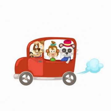 坐在小汽车里的卡通小狗猴子熊猫png图片免抠矢量素材
