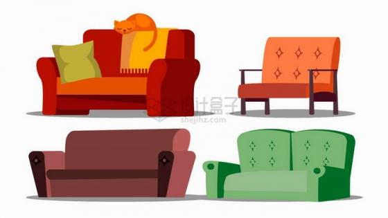 4款多人沙发卡通插画png图片免抠矢量素材