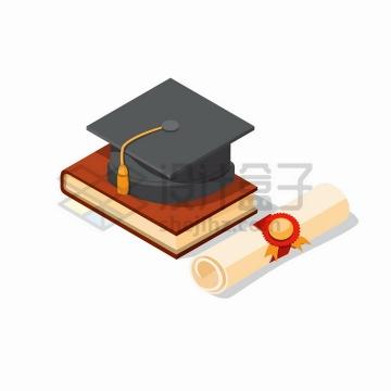 卡通漫画风格博士帽学士帽书本和毕业证书png图片免抠矢量素材