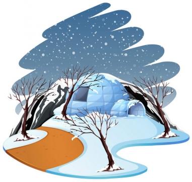 冬天下大雪雪屋雪景图片免抠素材