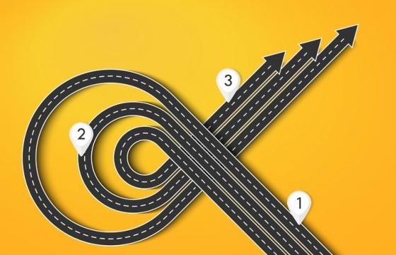 复杂弯曲的立体立交桥风格公路道路步骤图图片免抠矢量图