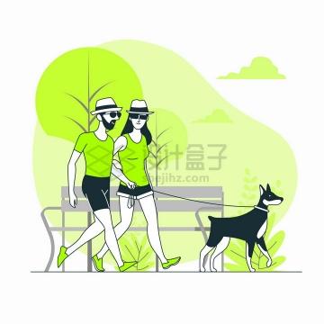正在公园遛狗的情侣扁平插画png图片免抠矢量素材