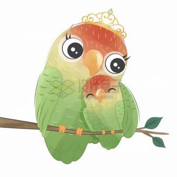 超可爱绿色的小鸟妈妈和小鸟宝宝亲子png图片免抠矢量素材