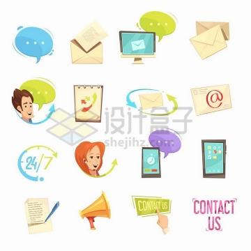 16款卡通对话邮件客服24小时服务标志等图标png图片免抠矢量素材