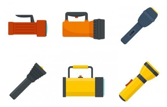 6款蓄电手电筒氙气灯图片免抠矢量素材