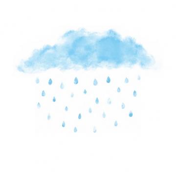 水彩画风格涂鸦蓝色云朵正在下雨271849png图片素材