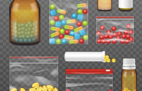 各种包装的药瓶胶囊药片医疗用品图片免抠素材