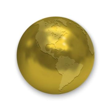 金色的地球西半球免扣图片素材