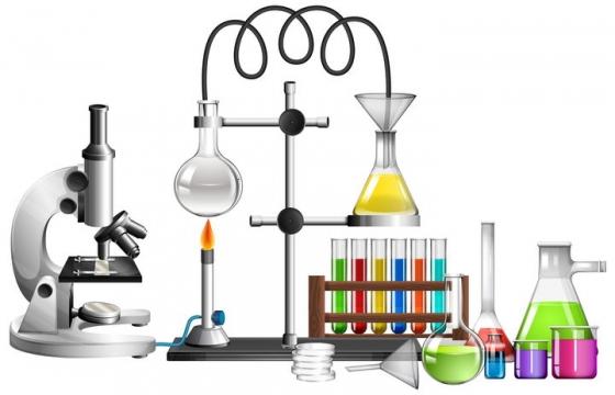 逼真的化学实验室烧杯显微镜等蒸馏实验器材图片免抠素材