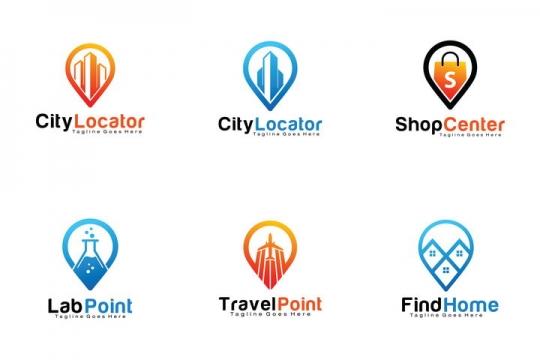 6款水滴线条风格城市建筑logo设计方案图片免抠矢量图素材