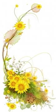 盛开的向日葵鲜花藤蔓装饰图片免抠素材