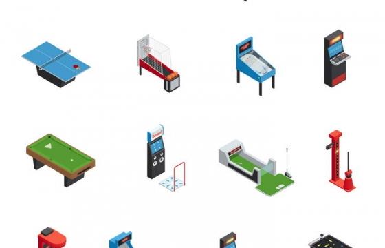 2.5D效果台球飞镖等各类家庭游戏设备图片免抠素材