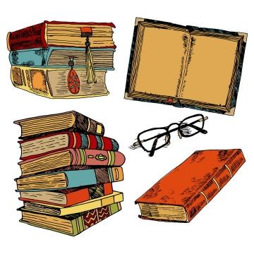彩色手绘复古风格书本书籍眼镜等免抠矢量图片素材