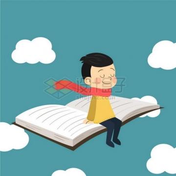 卡通小男孩坐在打开的书本上飞行png图片免抠矢量素材