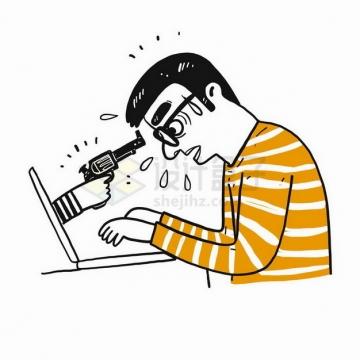 插画风格被黑客用枪指着的年轻人象征了网络安全png图片免抠矢量素材