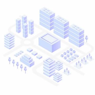 紫色城市建筑街道模型png图片免抠ai矢量素材